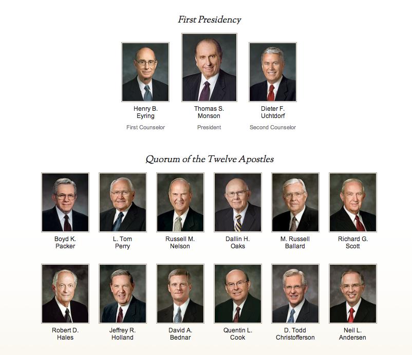 first presidency and twelve apostles