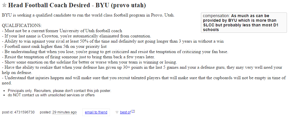Head coaching job at BYU Craigslist bronco mendenhall