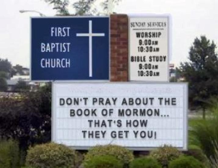 Hilarious and funny church signs from around the US don't pray about the book of mormon
