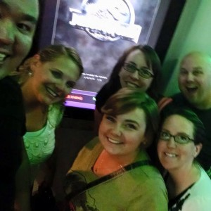 huntinghouse and johnson clan watching jurassic world