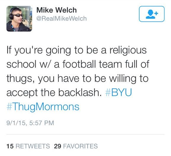 Mike Welch tweet about byu football players being a group of thugmormons